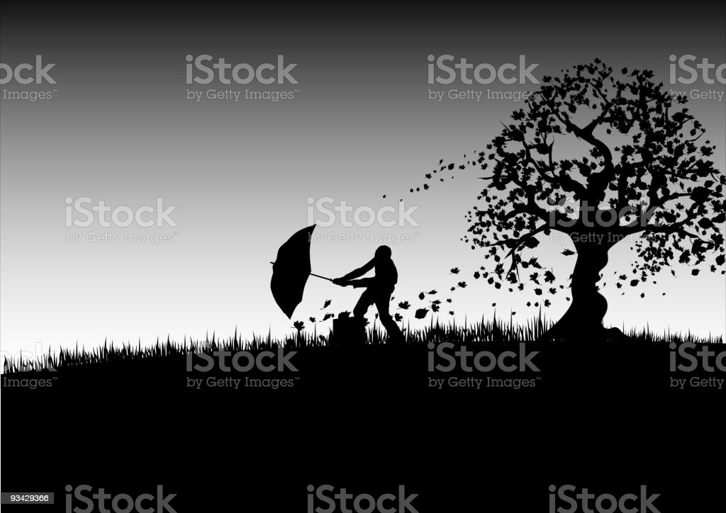 A silhouette of a man with a umbrella outside royalty-free stock vector art