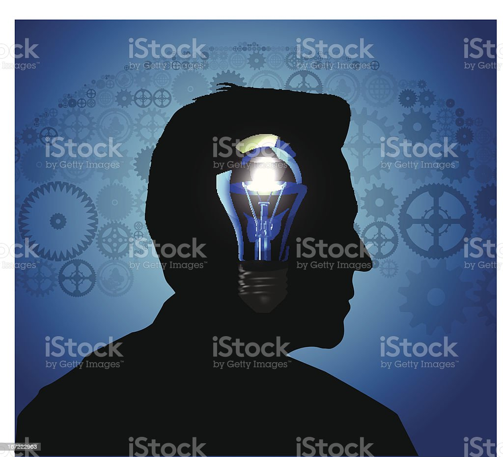 Silhouette of a man's head royalty-free stock vector art