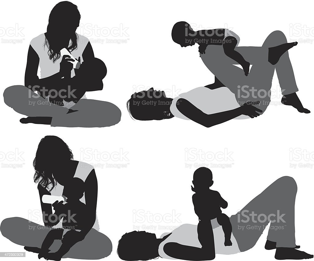 Silhouette of a mother with her baby royalty-free stock vector art