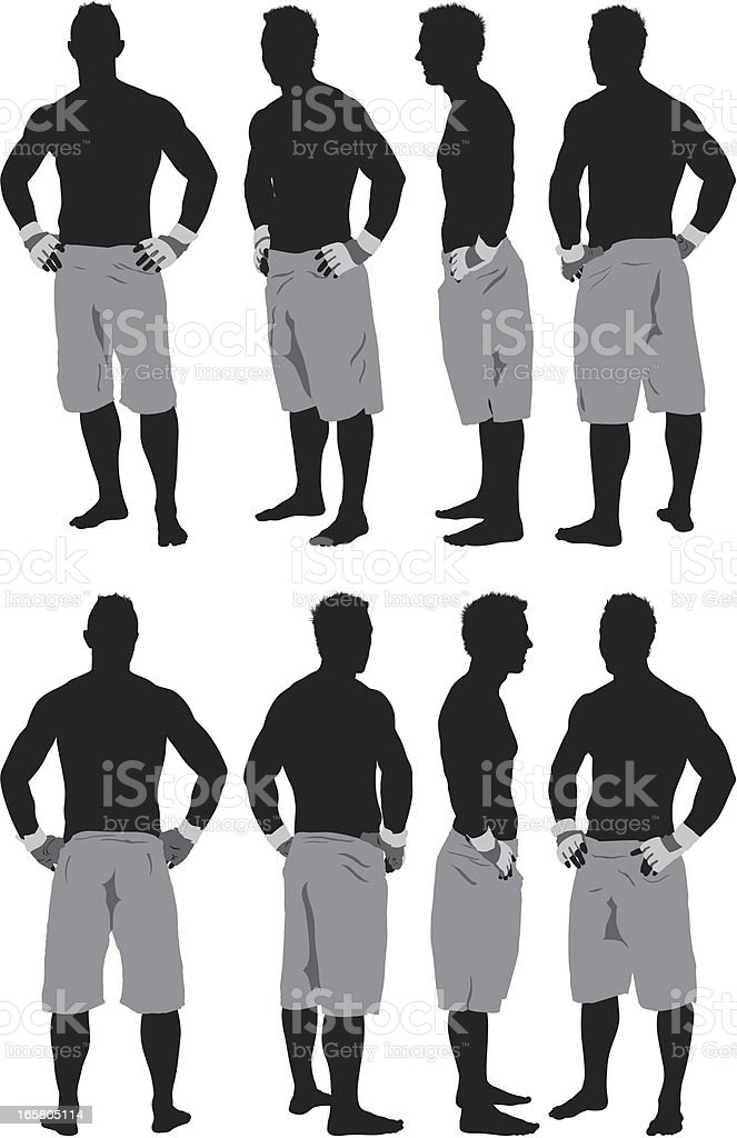 Silhouette of a muscular man standing with arms akimbo royalty-free stock vector art
