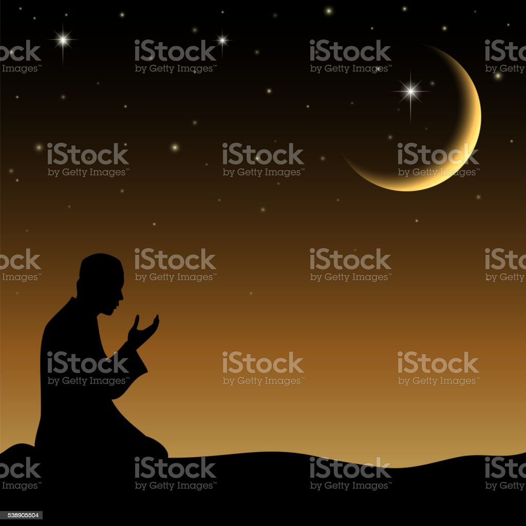 Silhouette of a Muslim praying in the when night vector art illustration