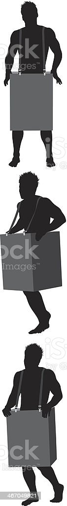 Silhouette of a naked man in cardboard box royalty-free stock vector art