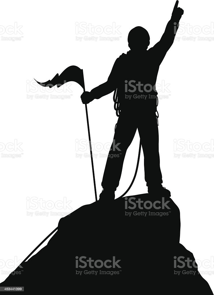 Silhouette of a person holding a flag on the summit vector art illustration