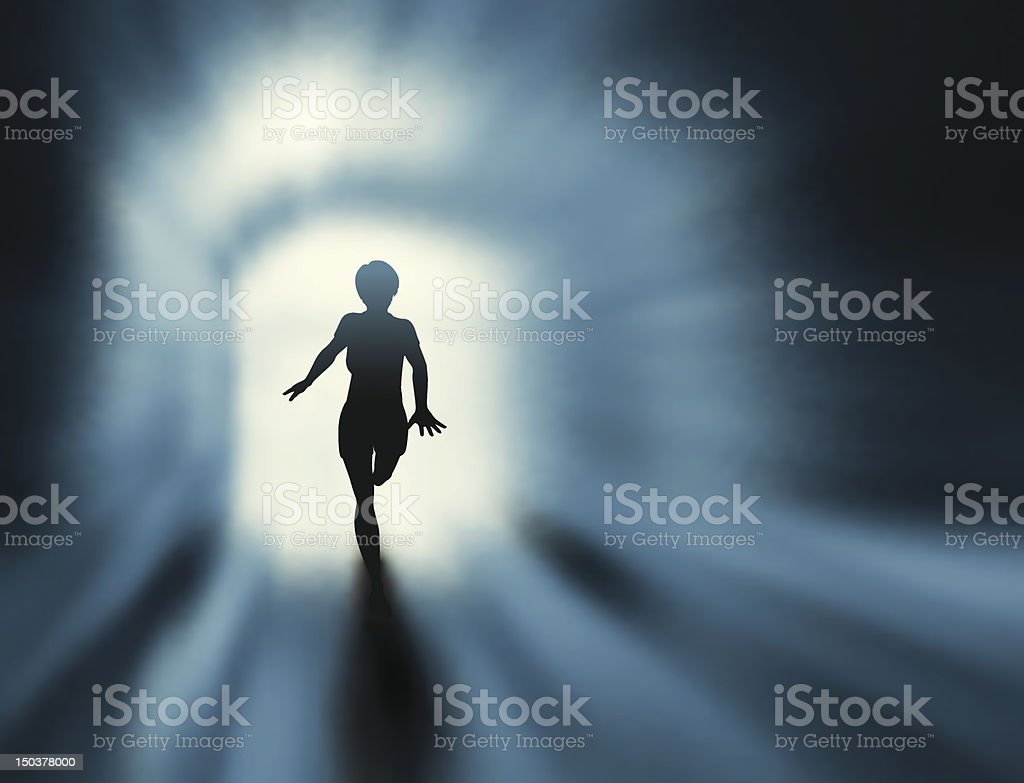 Silhouette of a person running in a tunnel vector art illustration