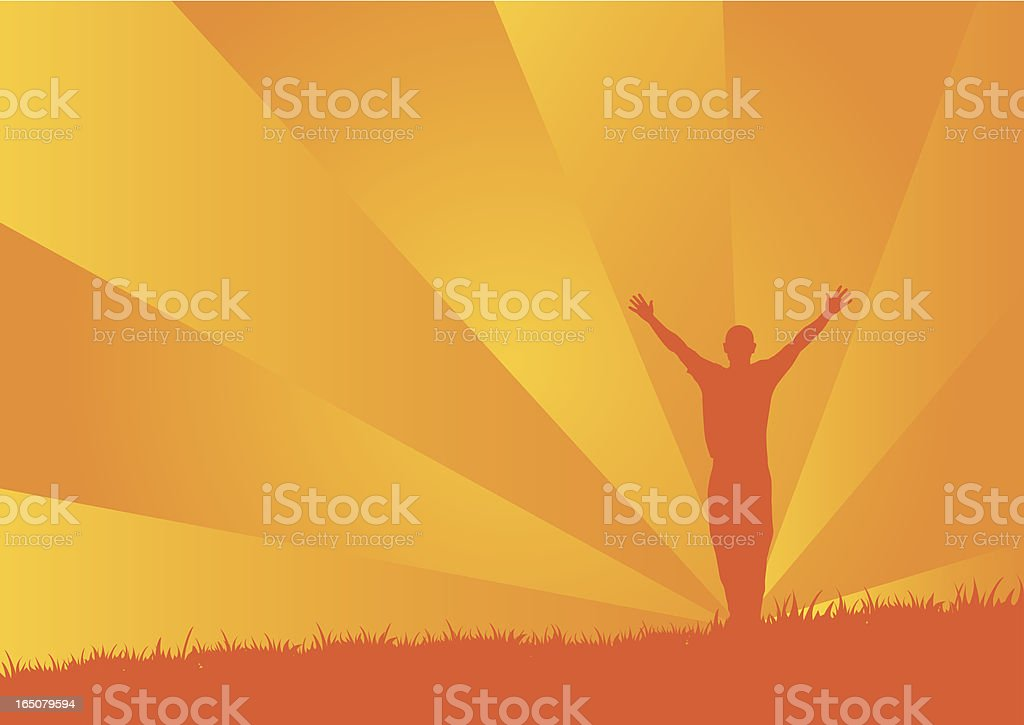 Silhouette of a person with raised arms on orange background royalty-free stock vector art