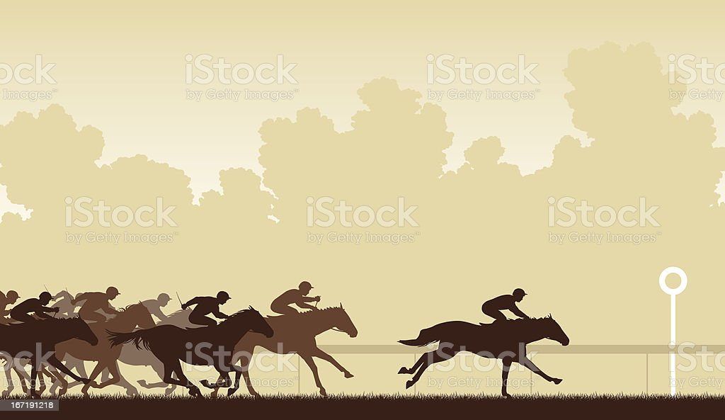 A silhouette of a racing horse  vector art illustration