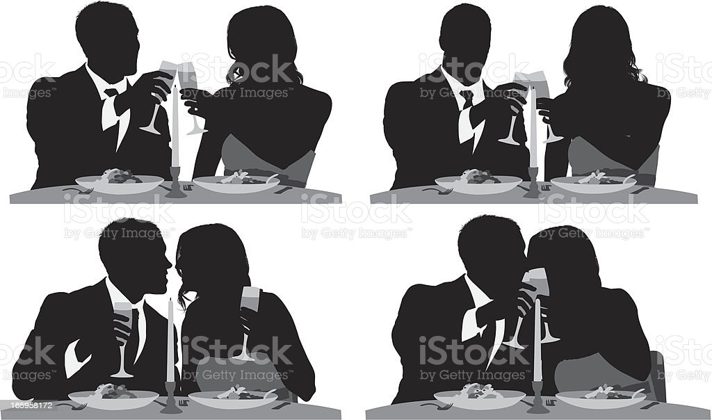 Silhouette of a romantic couple at dinner royalty-free stock vector art