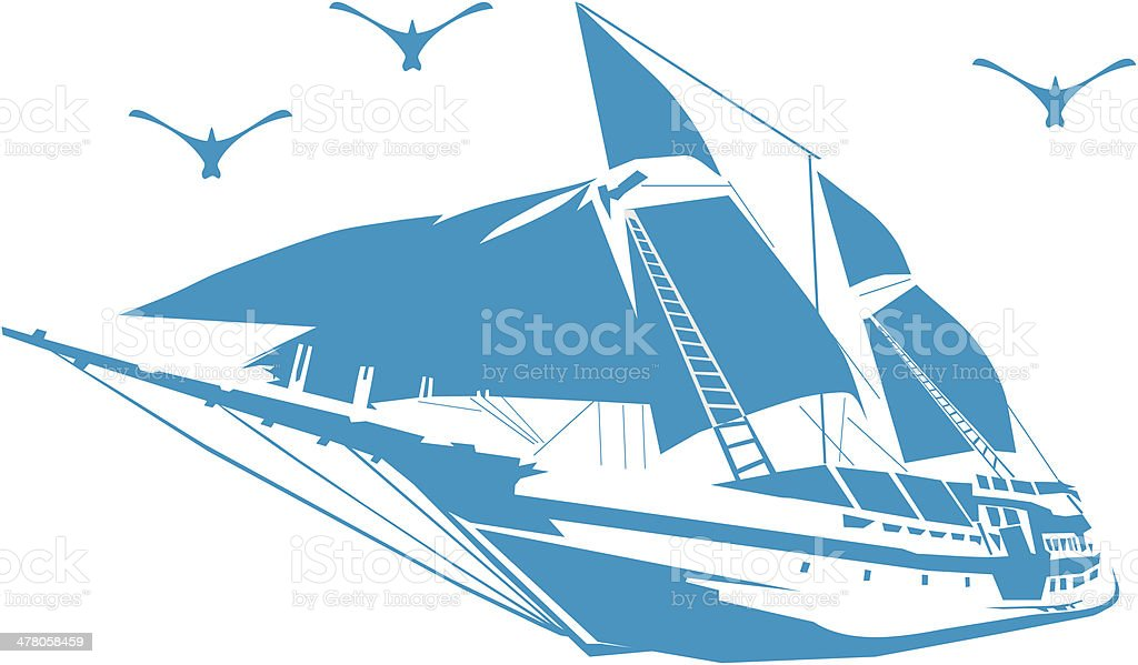 Silhouette of a sailboat on the waves. royalty-free stock vector art