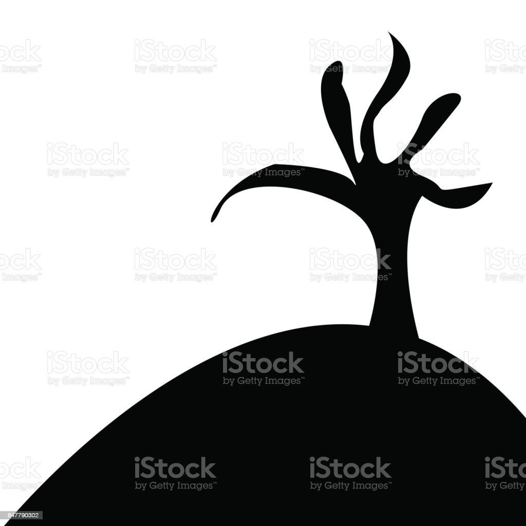 Silhouette of a tree vector art illustration