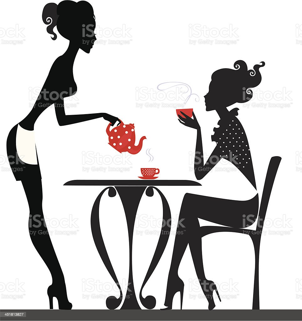 silhouette of a two girls drink tea royalty-free stock vector art