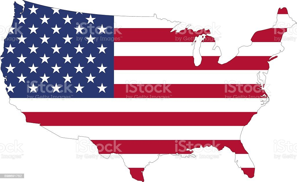 silhouette of a U.S. flag on the map vector art illustration