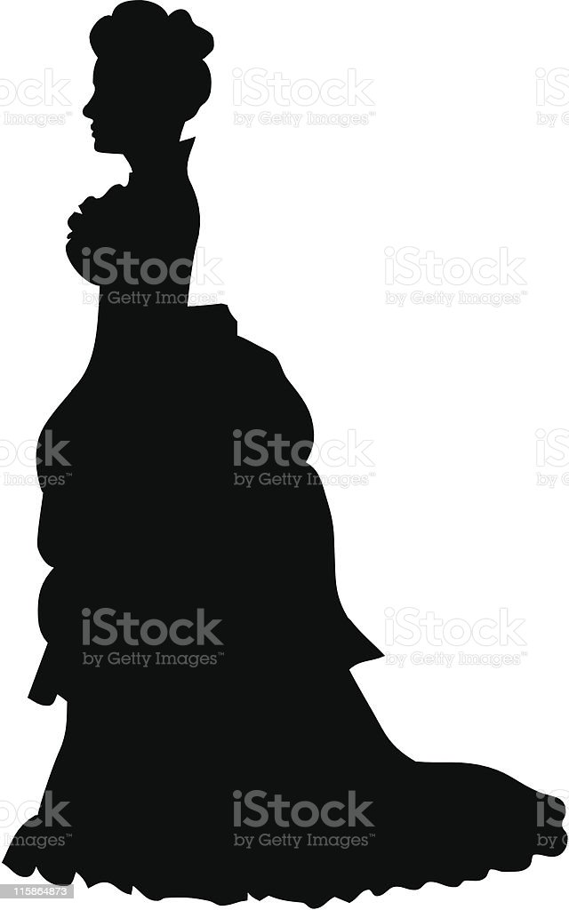 Silhouette of a victorian woman vector art illustration