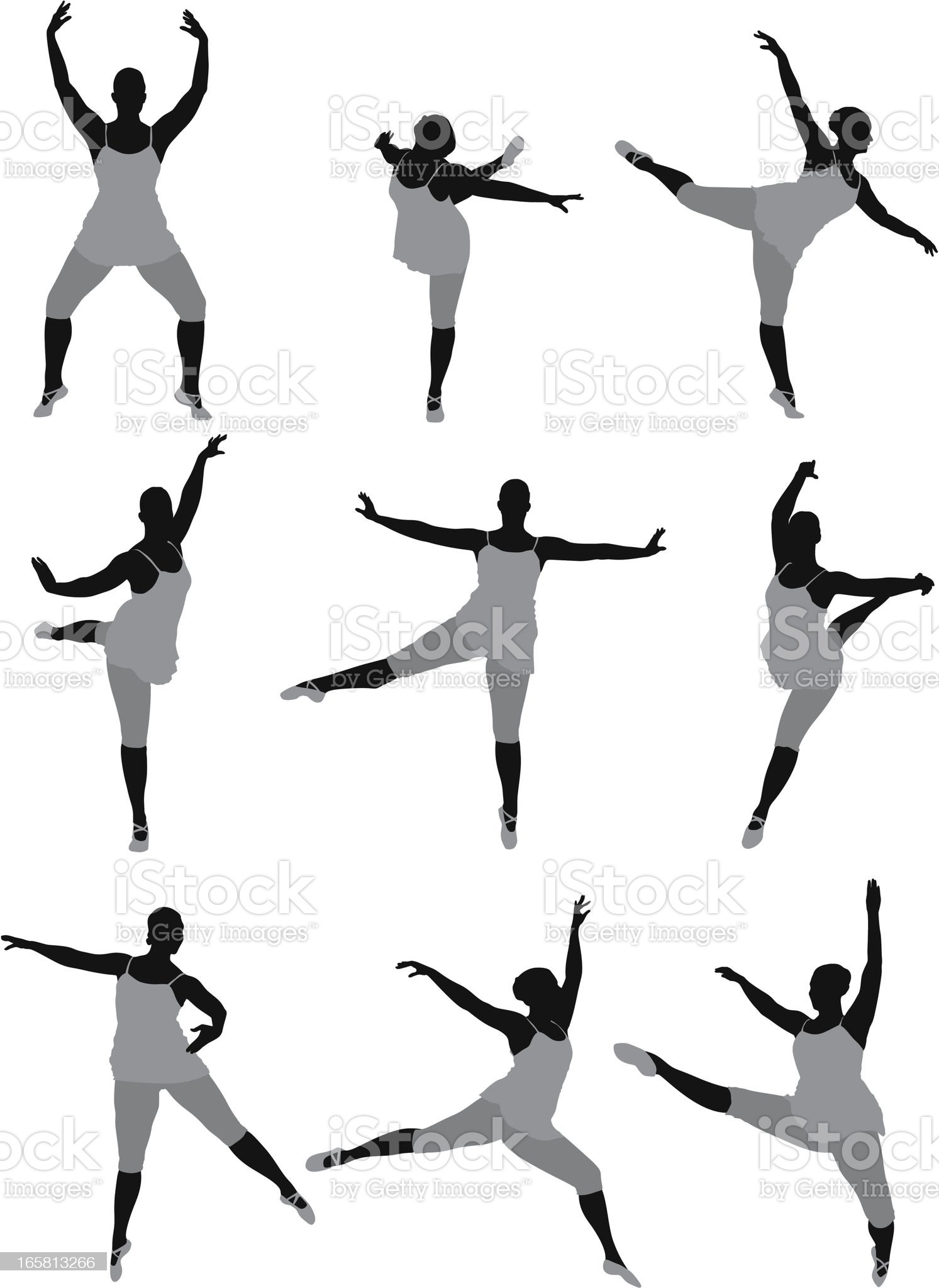Silhouette of a woman dancing royalty-free stock vector art