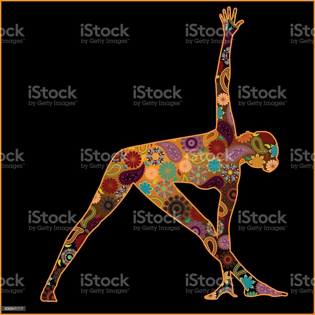 Silhouette of a woman in triangle pose with Hindu symbols vector art illustration