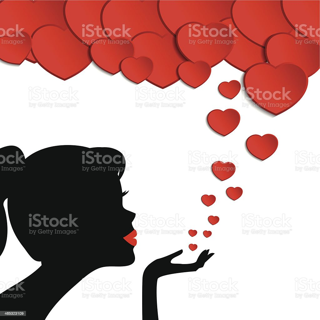 silhouette of a woman sending hearts valentines day card stock