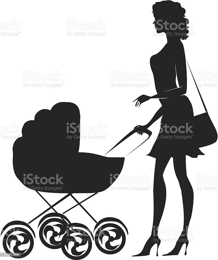 Silhouette of a woman standing near pram royalty-free stock vector art