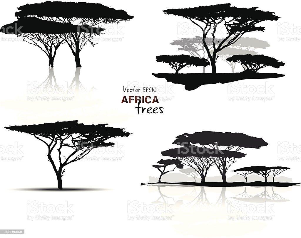 Silhouette of africa trees vector art illustration