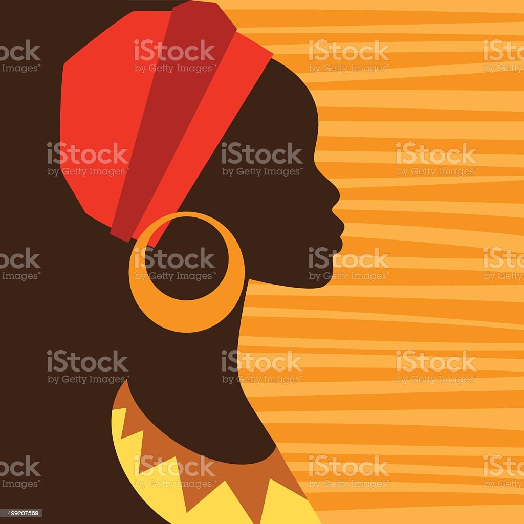 Silhouette of african girl in profile with earrings. vector art illustration