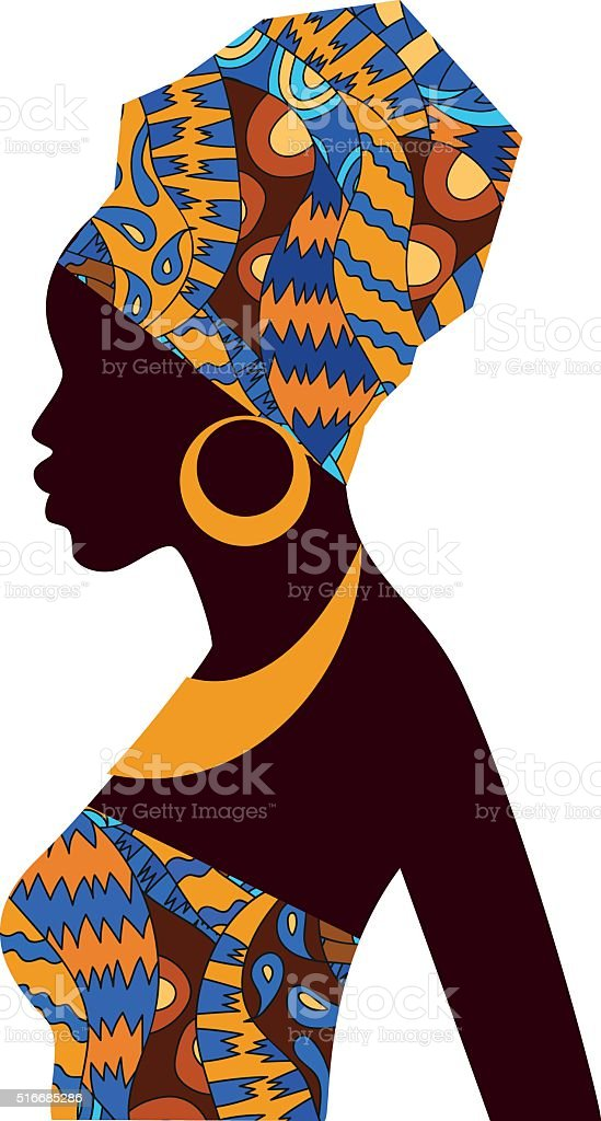 Silhouette of African girls in bright colored turban vector art illustration