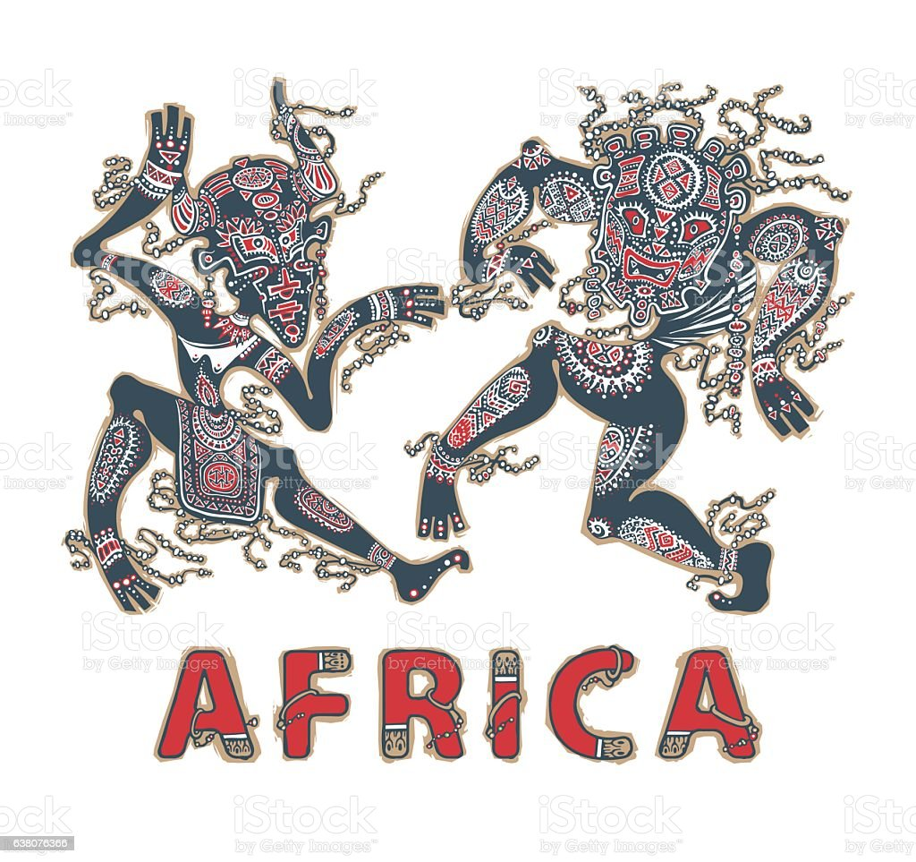 Silhouette of africans. Dancing africans and aborigines in masks vector art illustration