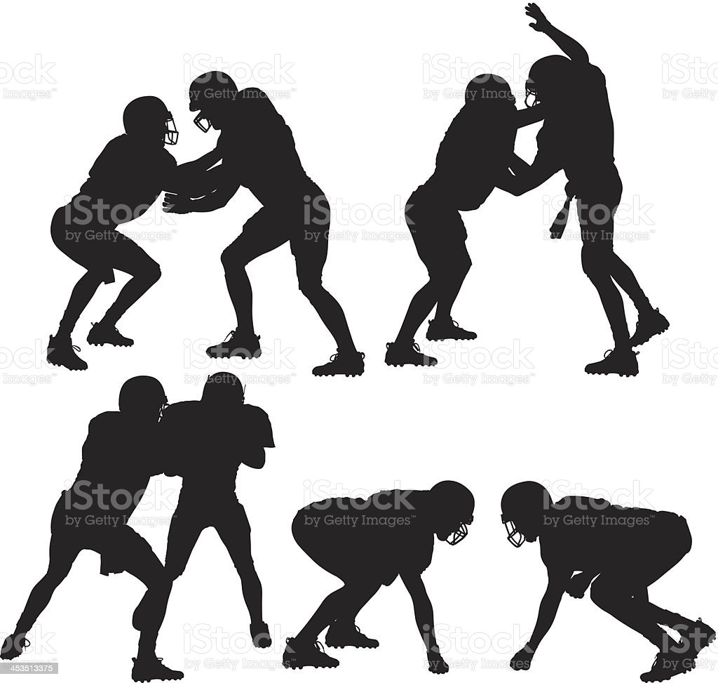 Silhouette of American football players in action royalty-free stock vector art
