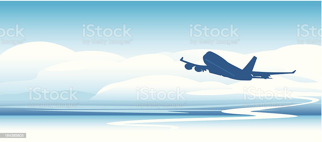 Silhouette of an airplane in the clouds royalty-free stock vector art
