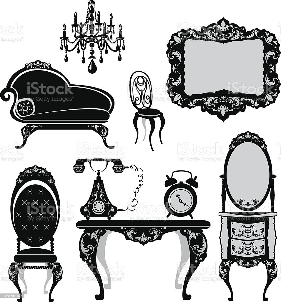 Silhouette of antique furniture on a white background vector art illustration
