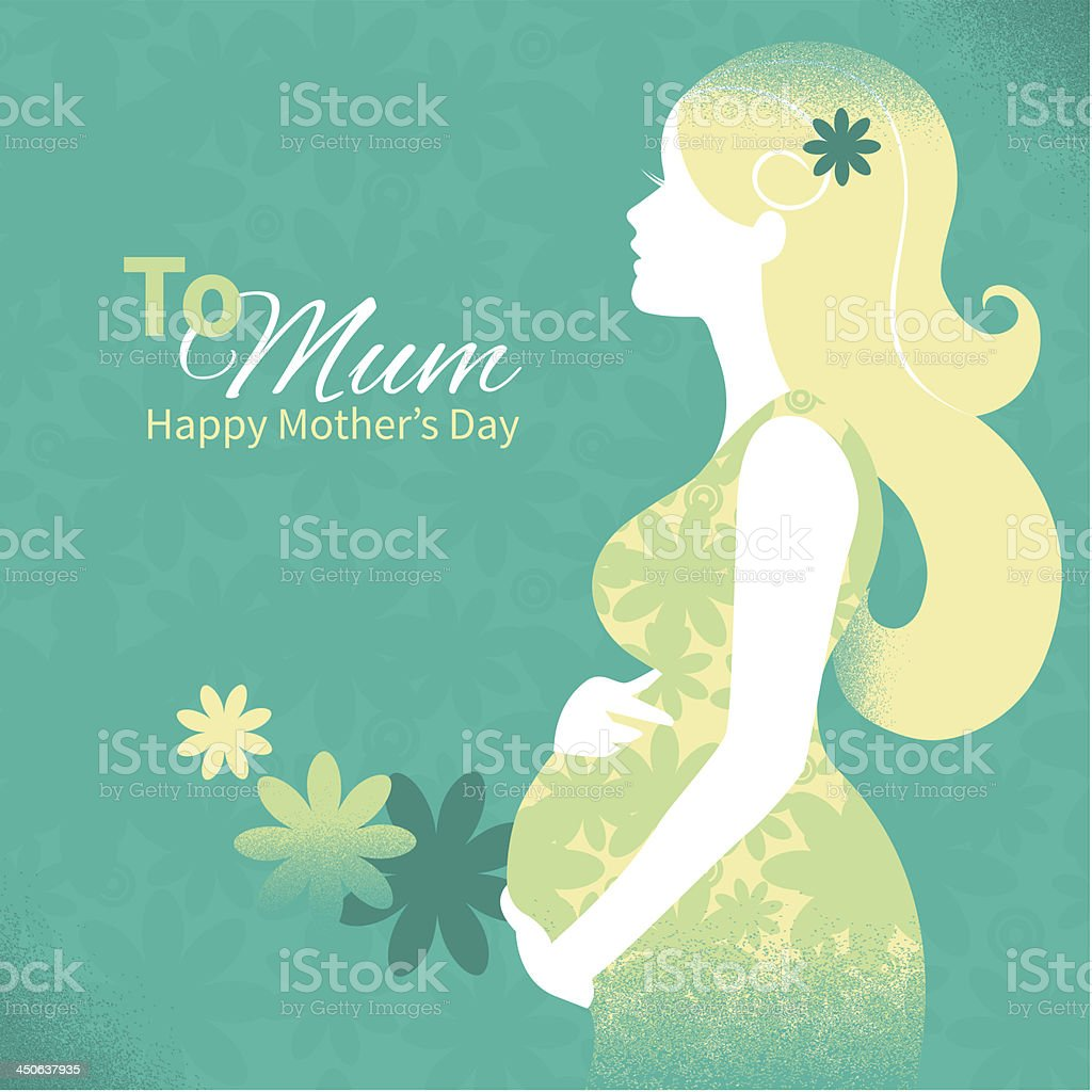 Silhouette of beautiful pregnant woman vector art illustration