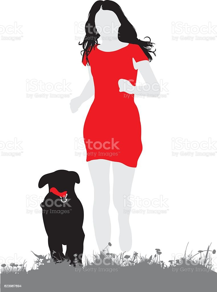 Silhouette of beautiful woman running with a dog vector art illustration