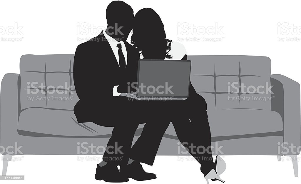 Silhouette of business couple using laptop royalty-free stock vector art