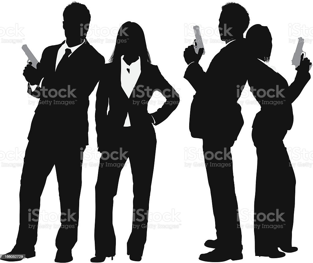 Silhouette of business couple with a gun royalty-free stock vector art