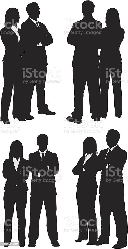 Silhouette of business couples vector art illustration