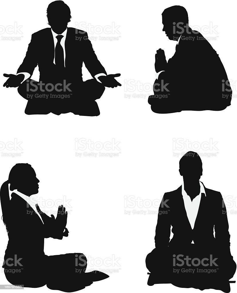 Silhouette of business executives meditating royalty-free stock vector art