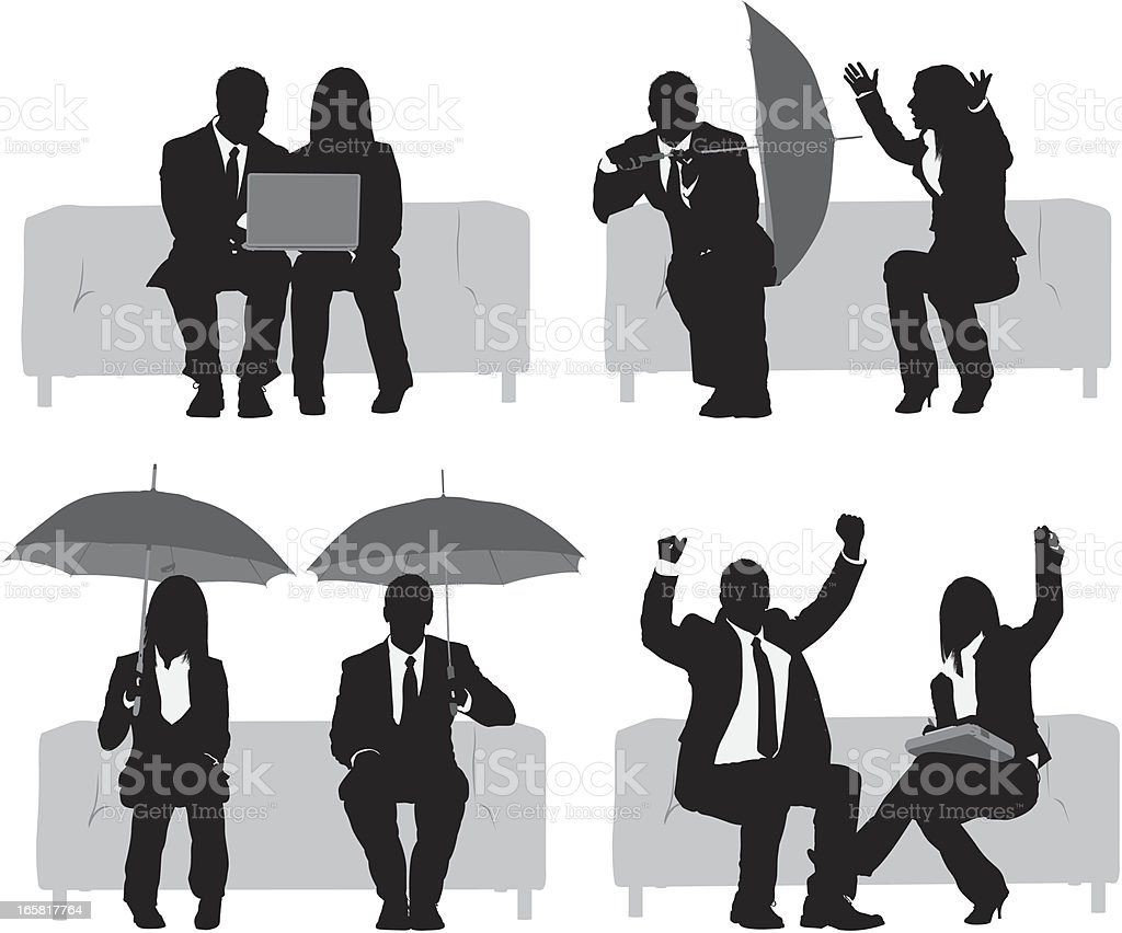 Silhouette of business executives on couch royalty-free stock vector art