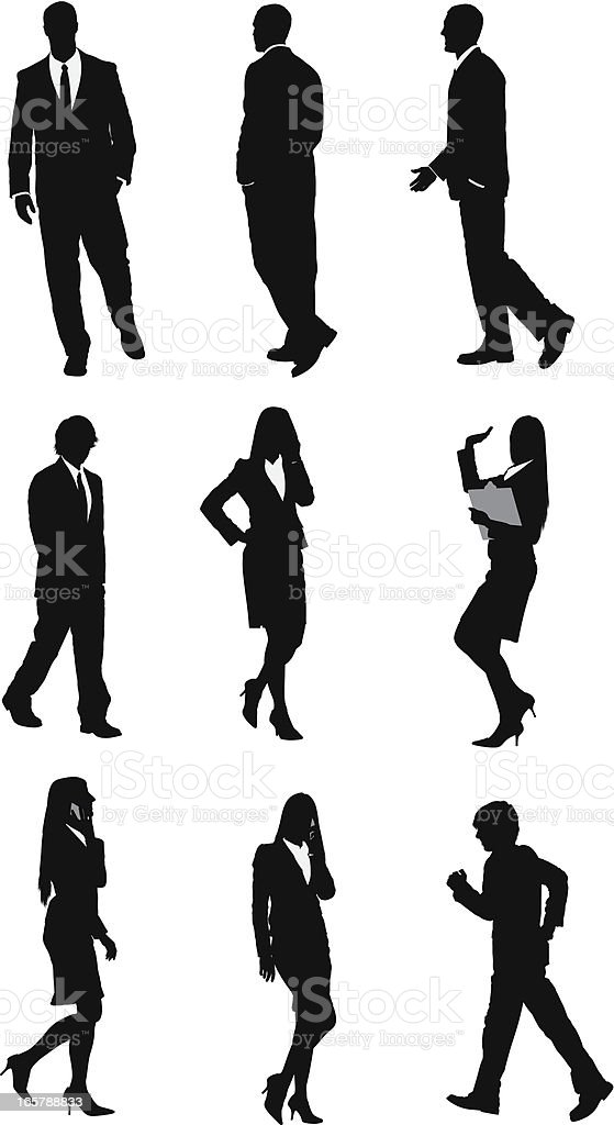 Silhouette of business executives vector art illustration
