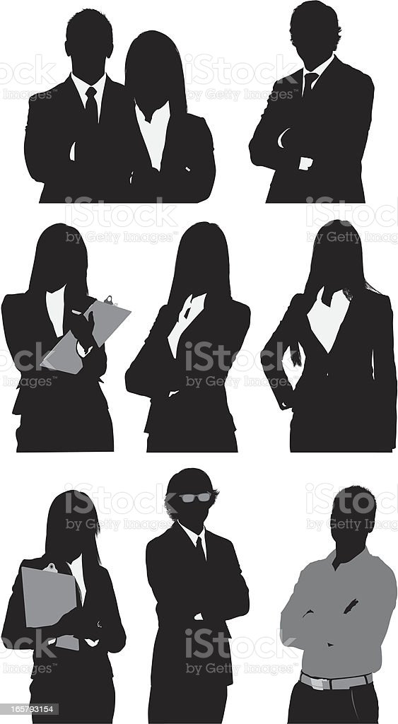 Silhouette of business executives royalty-free stock vector art