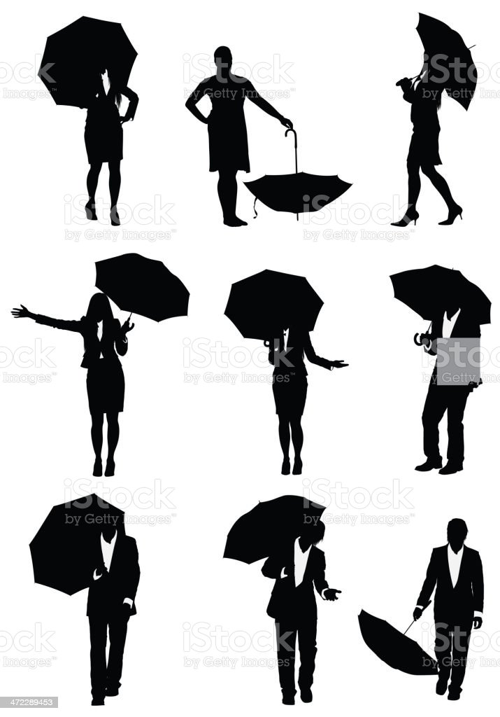 Silhouette of business executives with umbrellas royalty-free stock vector art