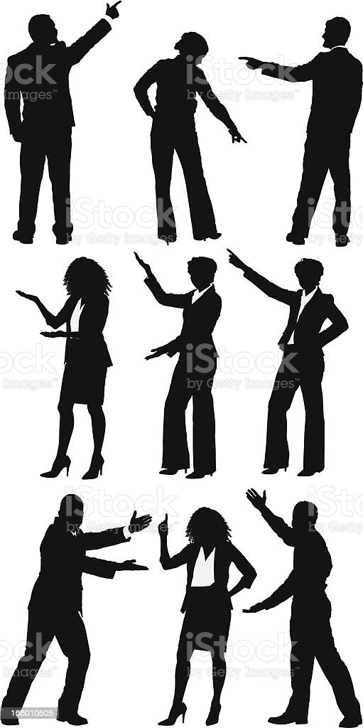 Silhouette of business people presenting royalty-free stock vector art