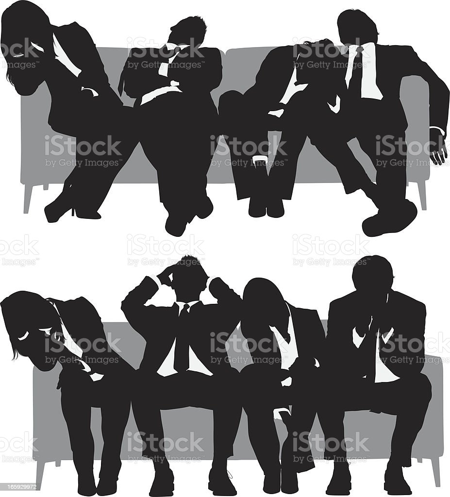Silhouette of business people resting on couch vector art illustration