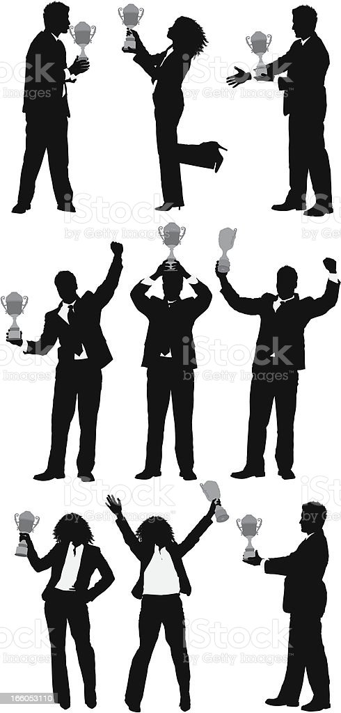 Silhouette of business people with a trophy royalty-free stock vector art
