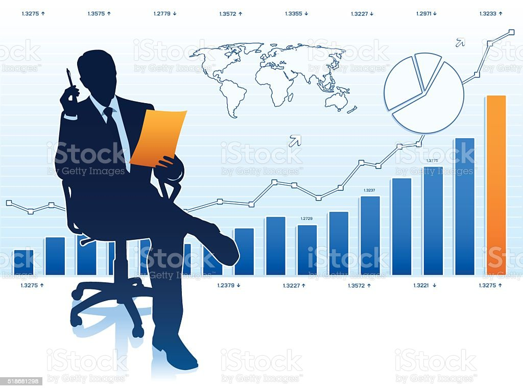 Silhouette of businessman in office chair vector art illustration