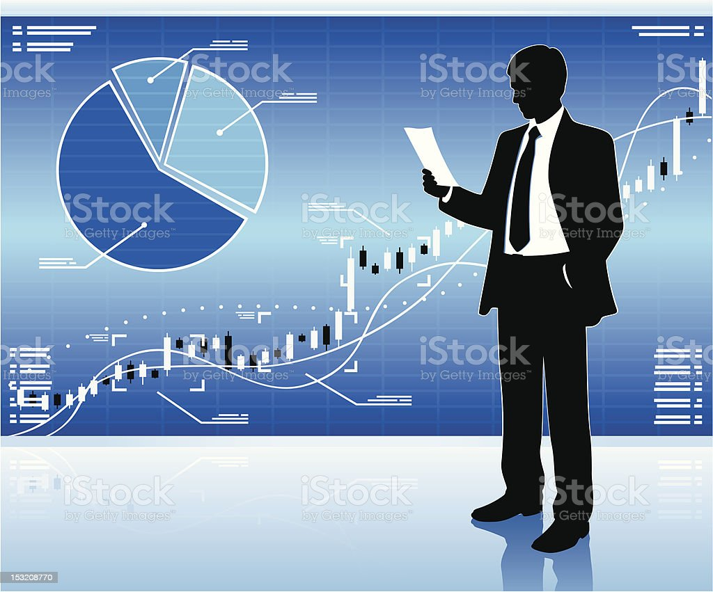 Silhouette of businessman with chart background royalty-free stock vector art