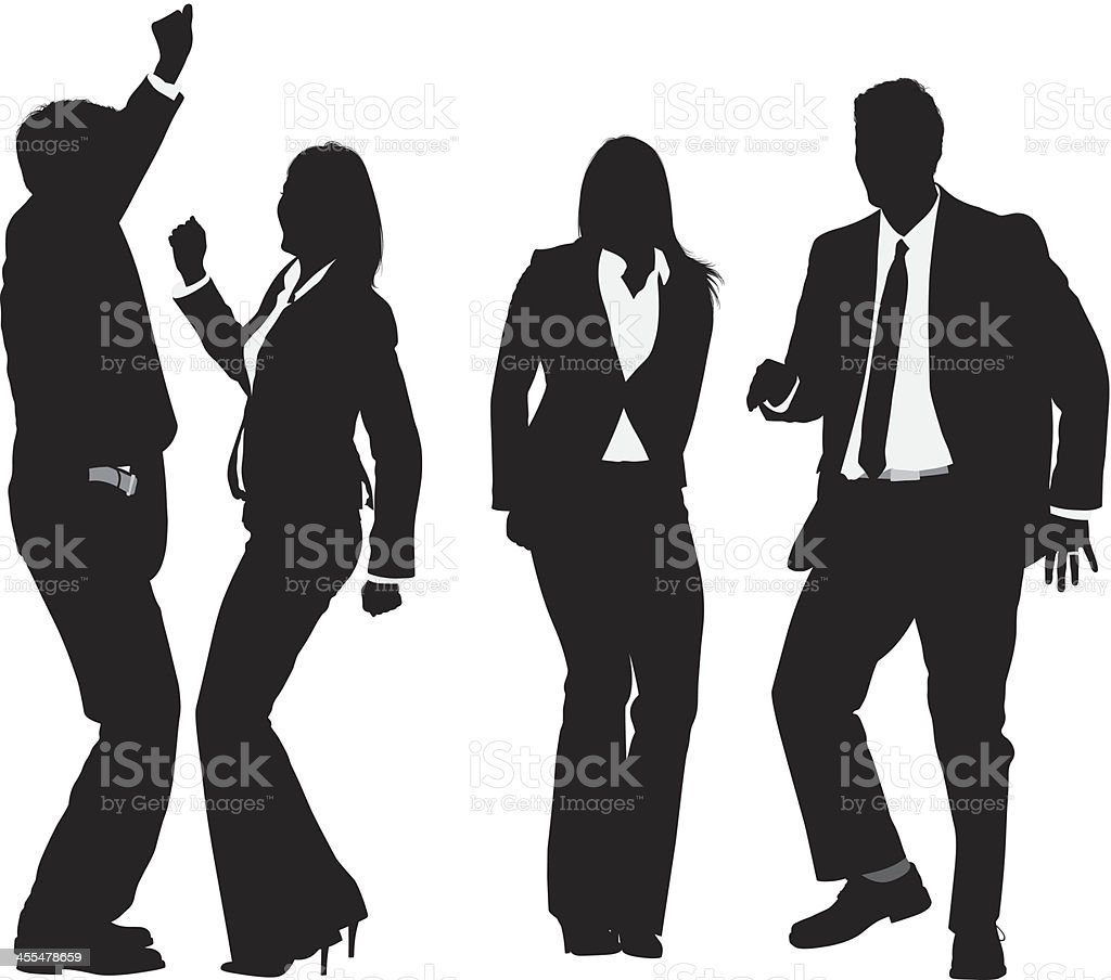Silhouette of businesspeople dancing vector art illustration