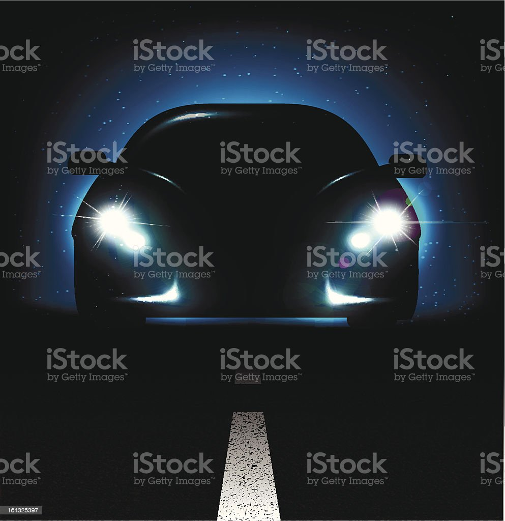 Silhouette of car with headlights on asphalt dark background. vector art illustration