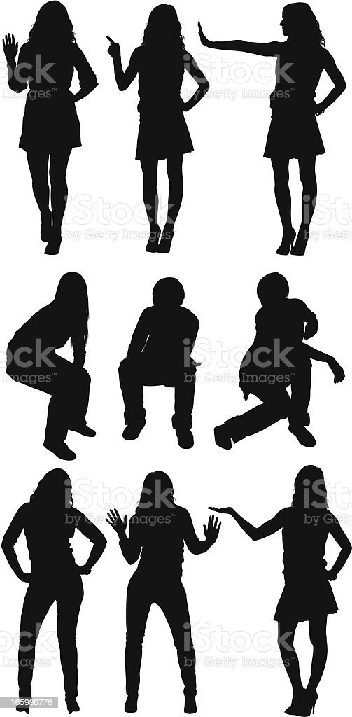 Silhouette of casual people in different poses royalty-free stock vector art
