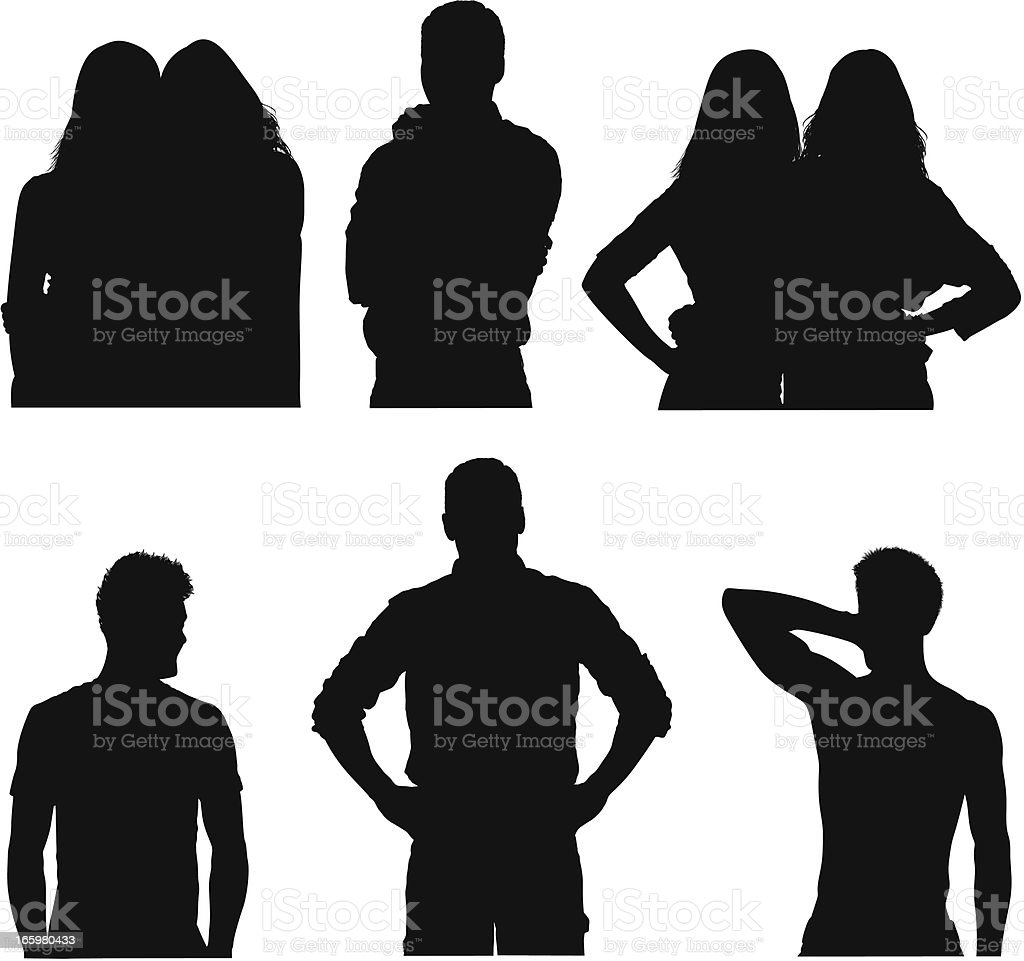 Silhouette of casual people royalty-free stock vector art