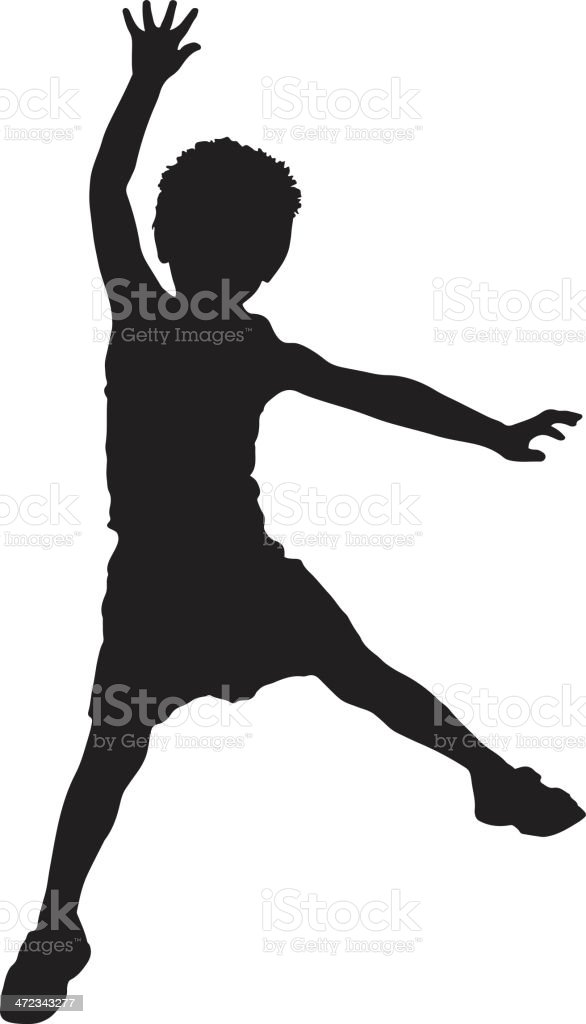 Silhouette of Child Jumping vector art illustration