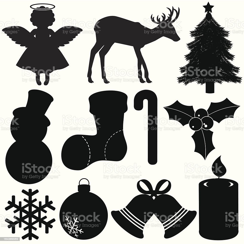 Silhouette of Christmas Festival - tree decoration, snowman, snowflake, bell royalty-free stock vector art