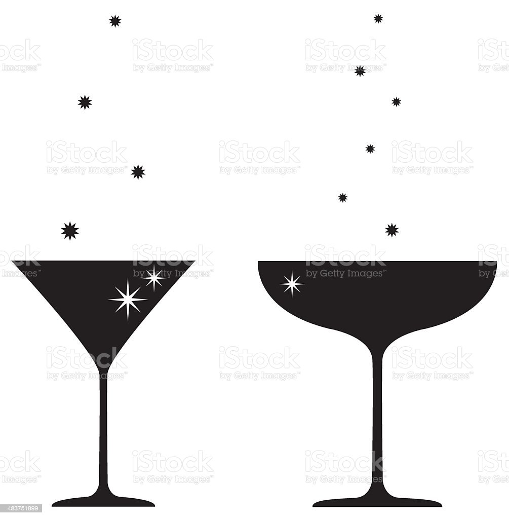 Silhouette of Cocktail & Champagne Glass vector art illustration
