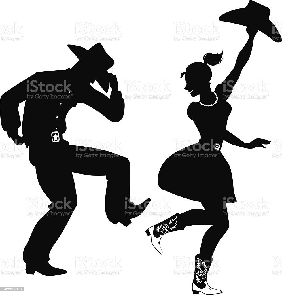 Silhouette of Country-Western dancers vector art illustration